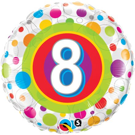 8th Birthday Colourful Dots Foil Balloon